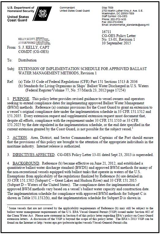 USCG BWM letter