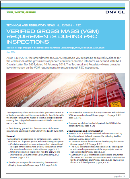 DNVGL VGM requirements for PSC