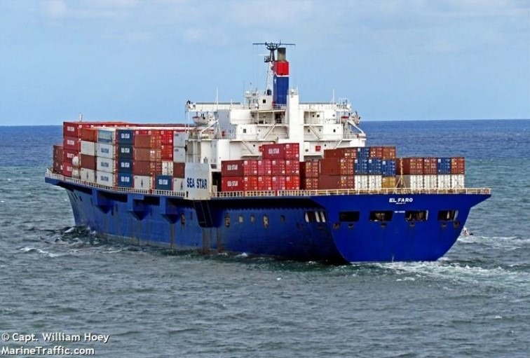 El Faro at sea viewed from stern (Photo by William Hoey)