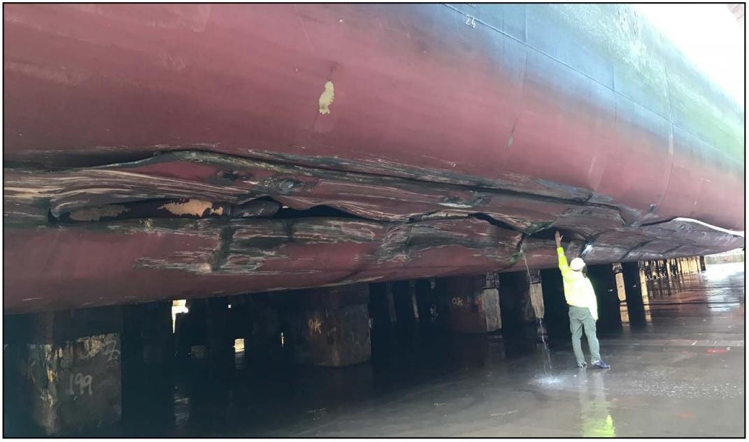 Damage to Seatruck Performance port side